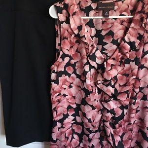 Black Skirt & Rose Top
